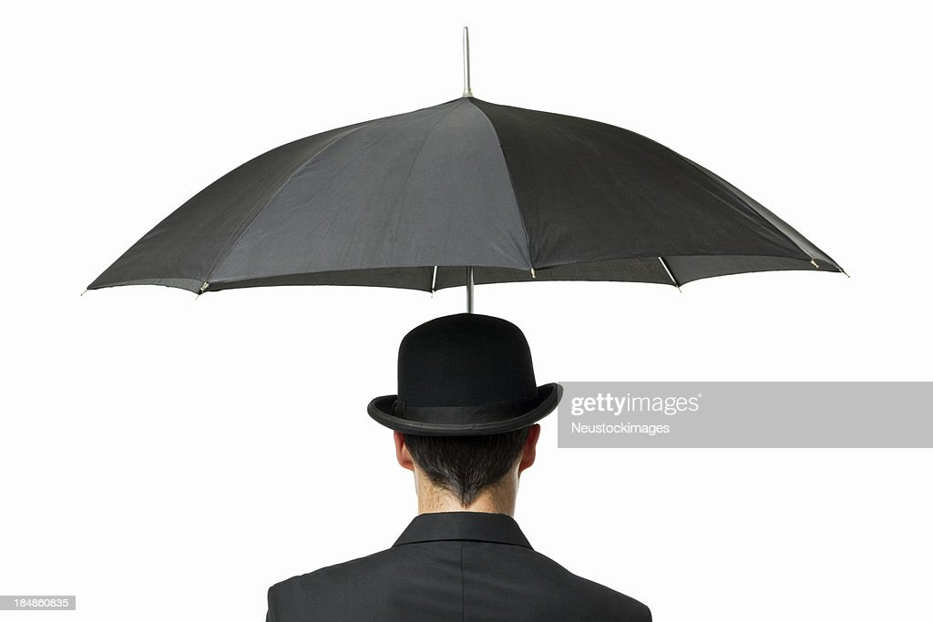 Gentleman Holding an Umbrella - Isolated