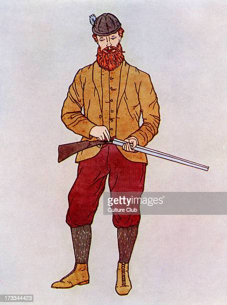 Gentleman huntsman sporting Mutton Chop Whiskers a kind of beard style popular in c1870