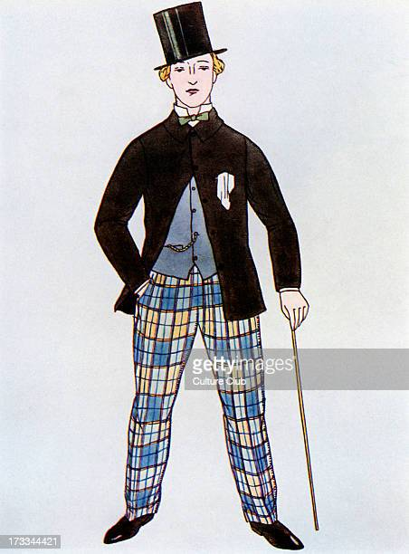 Gentleman in jacket and top hat after the style c1860 At this time jackets reached to the middle of the thigh and often have a small Vshape cut into...