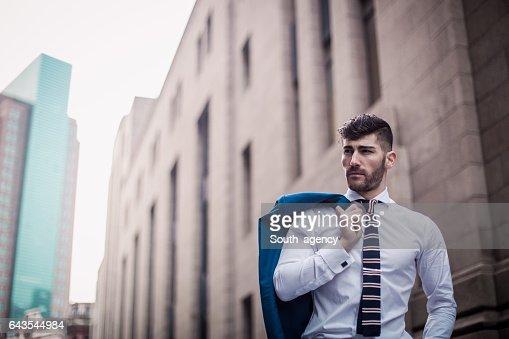 Gentleman in suit outdoors