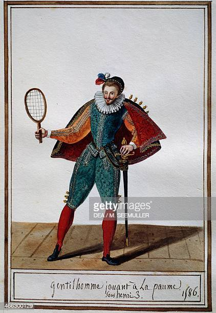 Gentleman playing Real tennis in 1586 under the reign of Henry III of France Pierre de La Mesangere watercolour France