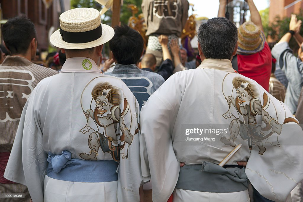 Gentlemen in festive outfit take part in Sanja Festival on May 18 2014 in Tokyo Japan The festival held in the third week of every May is considered...
