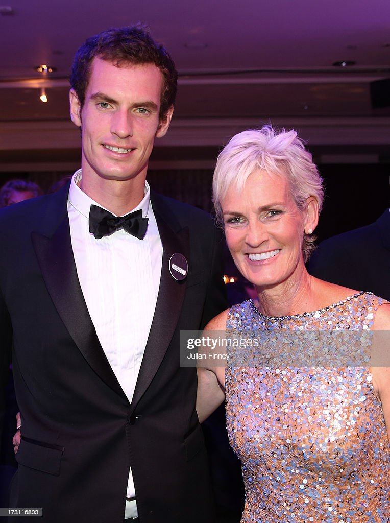 Gentlemen's Singles Champion Andy Murray of Great Britain poses with his mum <a gi-track='captionPersonalityLinkClicked' href=/galleries/search?phrase=Judy+Murray&family=editorial&specificpeople=582324 ng-click='$event.stopPropagation()'>Judy Murray</a> during the Wimbledon Championships 2013 Winners Ball at InterContinental Park Lane Hotel on July 7, 2013 in London, England.