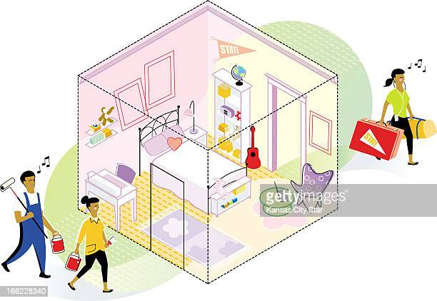 Gentry Mullen color illustration of happy parents heading to repaint girly pink bedroom of daughter who is happily departing for college They're...
