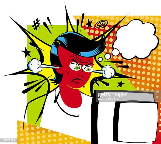 Gentry Mullen illustration of woman angry over spyware invading her PC