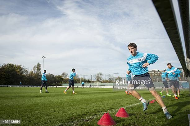 Gent's Belgian forward Benito Raman attends a training session of the KAA Gent football team on November 3 in Gent on the eve of the Group H UEFA...