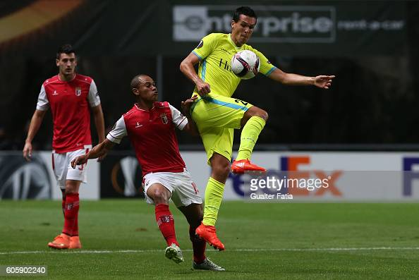 Gent's forward Jeremy Perbet from France with SC Braga's Brazilian defender Baiano in action during the UEFA Europa League match between SC Braga and...