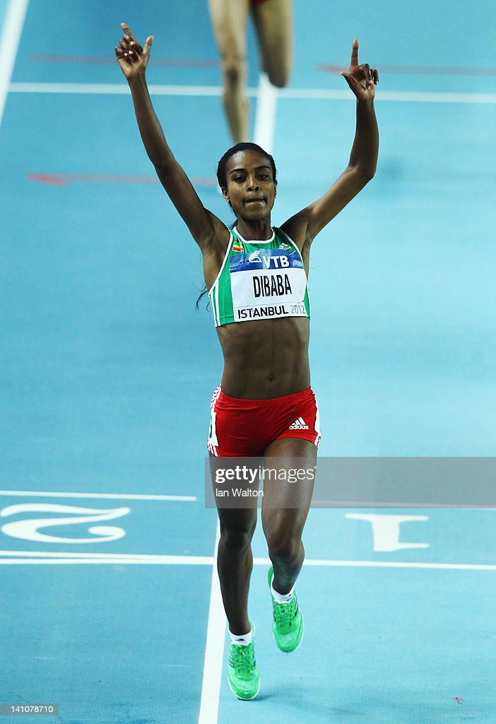 <a gi-track='captionPersonalityLinkClicked' href=/galleries/search?phrase=Genzebe+Dibaba&family=editorial&specificpeople=5083525 ng-click='$event.stopPropagation()'>Genzebe Dibaba</a> of Ethiopia celebrates as she crosses the line to win gold in the Women's 1500 Metres Final during day two of the 14th IAAF World Indoor Championships at the Atakoy Athletics Arena on March 10, 2012 in Istanbul, Turkey.