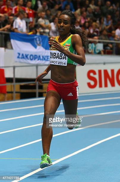 Genzebe Dibaba of Ethiopia competes on the way to winning the gold medal in the Women's 3000m final during day three of the IAAF World Indoor...