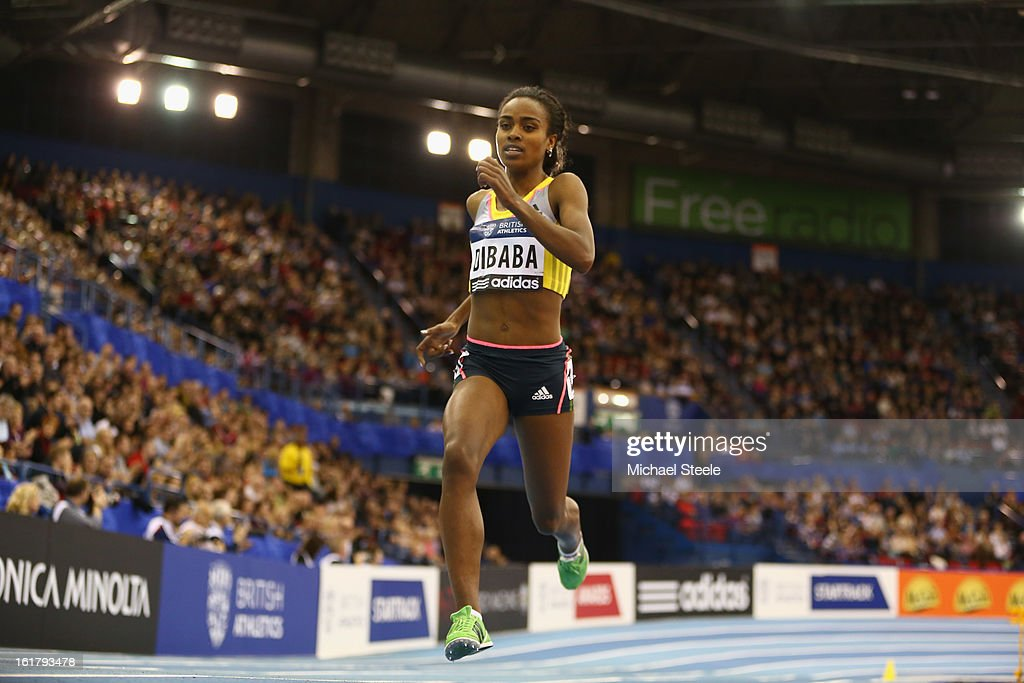 <a gi-track='captionPersonalityLinkClicked' href=/galleries/search?phrase=Genzebe+Dibaba&family=editorial&specificpeople=5083525 ng-click='$event.stopPropagation()'>Genzebe Dibaba</a> of Ethiopia on her way to victory in the women's 1500m during the British Athletics Grand Prix at the National Indoor Arena on February 16, 2013 in Birmingham, England.