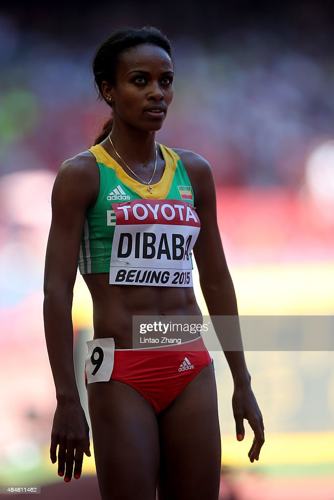 <a gi-track='captionPersonalityLinkClicked' href=/galleries/search?phrase=Genzebe+Dibaba&family=editorial&specificpeople=5083525 ng-click='$event.stopPropagation()'>Genzebe Dibaba</a> of Ethiopia reacts after competing in the Women's 1500 metres heats during day one of the 15th IAAF World Athletics Championships Beijing 2015 at Beijing National Stadium on August 22, 2015 in Beijing, China.