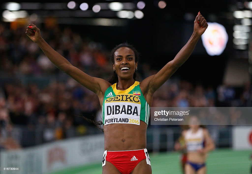 <a gi-track='captionPersonalityLinkClicked' href=/galleries/search?phrase=Genzebe+Dibaba&family=editorial&specificpeople=5083525 ng-click='$event.stopPropagation()'>Genzebe Dibaba</a> of Ethiopia wins gold in the Women's 3000 Metres Final during day four of the IAAF World Indoor Championships at Oregon Convention Center on March 20, 2016 in Portland, Oregon.