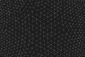 A modern design full frame geodesic abstract pattern of a monochrome black background with white and gray light elements.