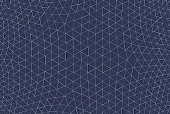 A modern design full frame geodesic abstract pattern of a monochrome blue background with white and gray light elements.