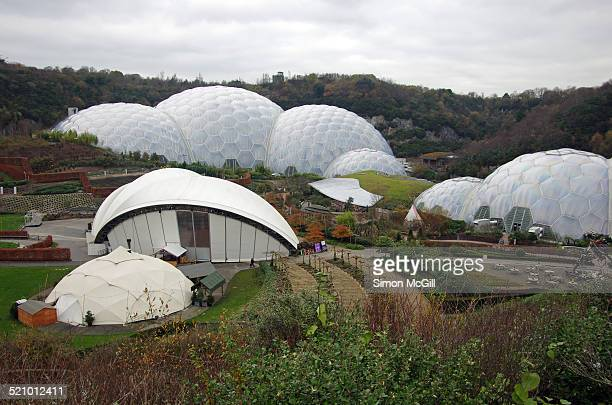 Geodesic biome domes at the Eden Project visitor attraction St Blazey Cornwall England United Kingdom