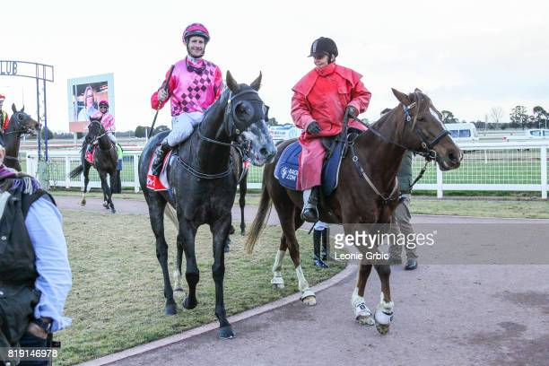 Geodude ridden by Brad Rawiller returns after winning the Gippsland Funeral Services Class 1 Handicap at Sale Racecourse on July 20 2017 in Sale...
