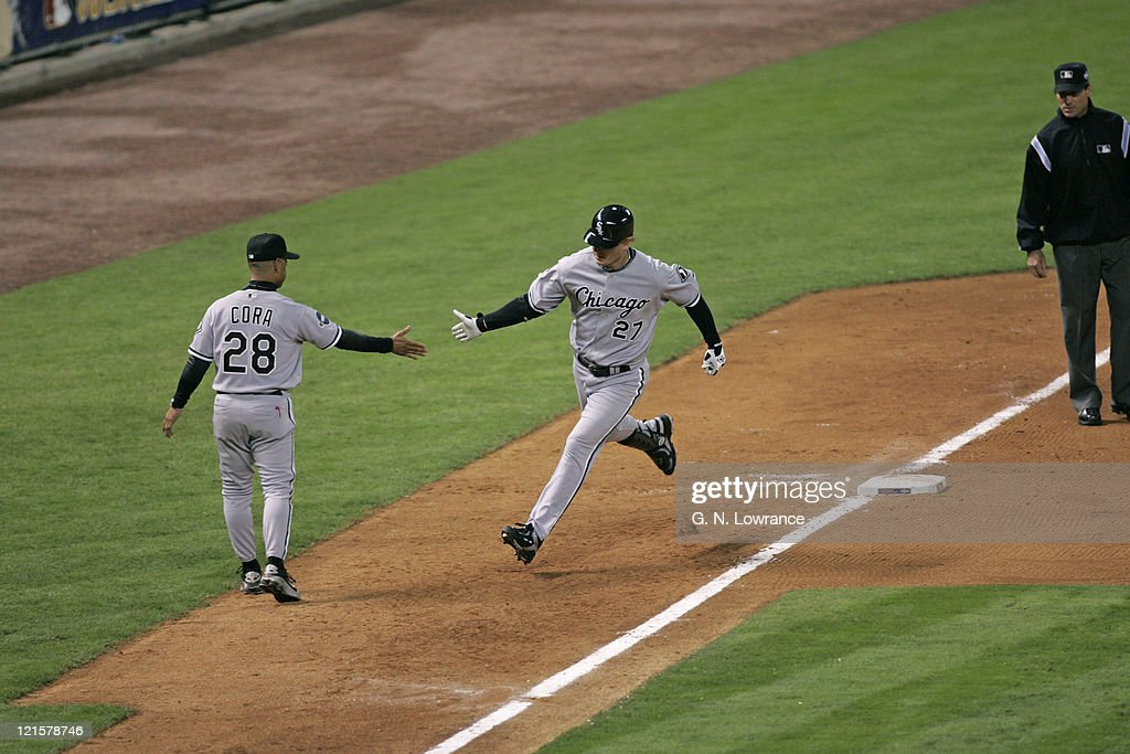 Geoff Blum of Chicago rounds third after hitting a home run in the 14th inning during action in game 3 of the World Series between the Chicago White Sox and the Houston Astros in Houston, Texas on October 25, 2005. Chicago won 7-5.