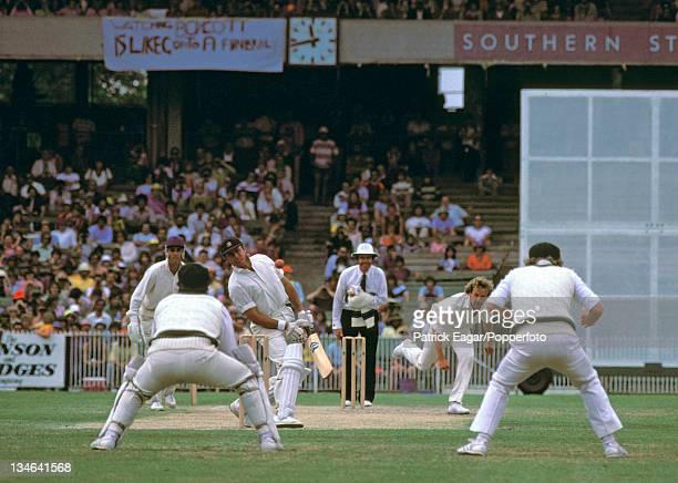 Geoff Boycott faces a bouncer from Rodney Hogg Australia v England 3rd Test Melbourne Dec 197879