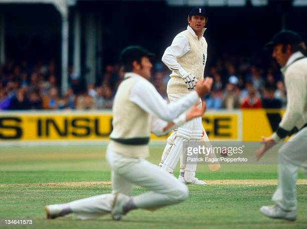 Geoff Boycott is dropped by Rick McCosker England v Australia 3rd Test Trent Bridge Jul 1977