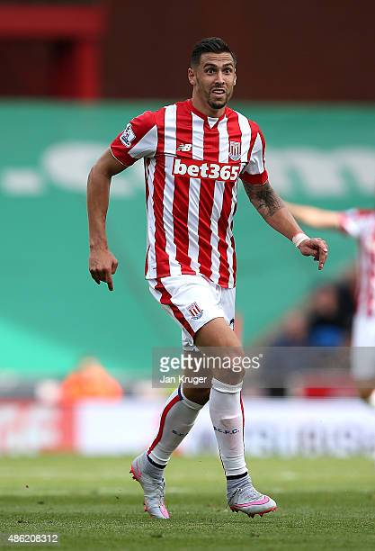 Geoff Cameron of Stoke City during the Barclays Premier League match between Stoke City and West Bromwich Albion at Britannia Stadium on August 29...