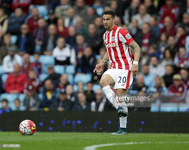 Geoff Cameron of Stoke City during the Barclays Premier League match between Aston Villa and Stoke City at Villa Park on October 3 2015 in Birmingham...