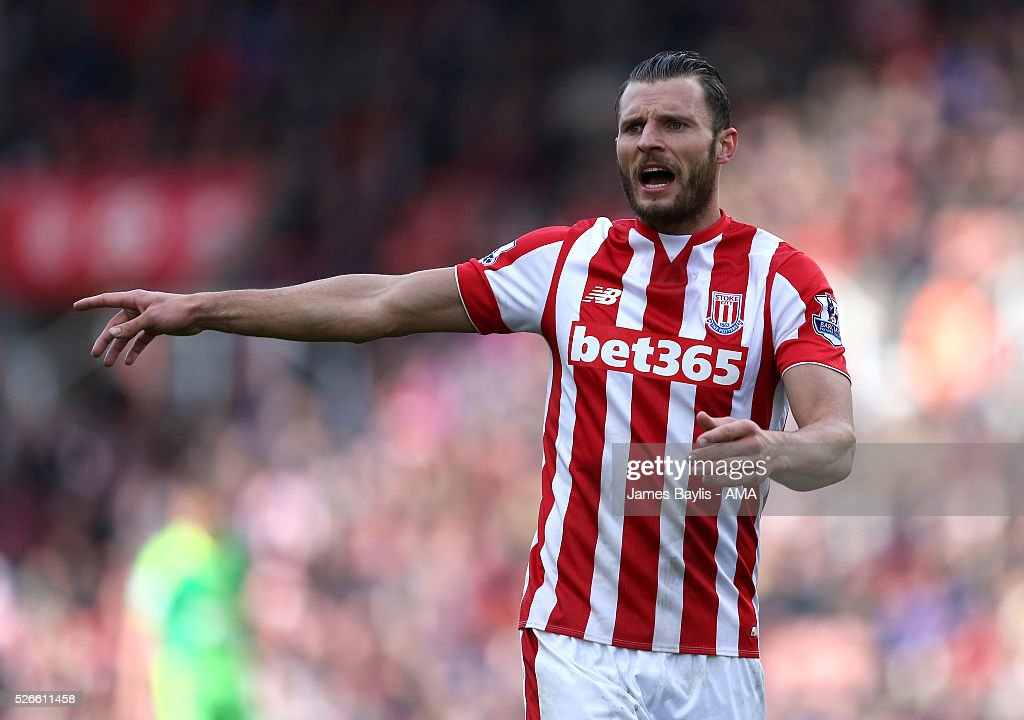 Geoff Cameron of Stoke City during the Barclays Premier League match between Stoke City and Sunderland at Britannia Stadium on April 30, 2016 in Stoke on Trent, England
