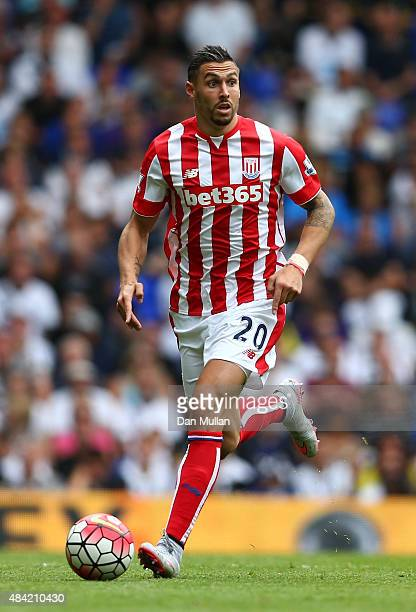 Geoff Cameron of Stoke City in action during the Barclays Premier League match between Tottenham Hotspur and Stoke City on August 15 2015 in London...