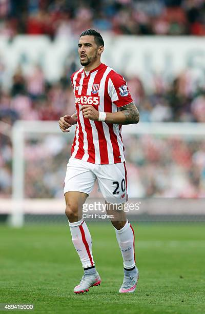 Geoff Cameron of Stoke City in action during the Barclays Premier League match between Stoke City and Leicester City at Britannia Stadium on...