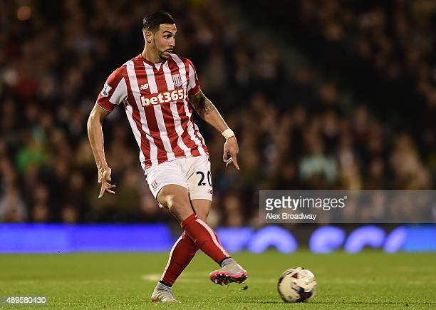 Geoff Cameron of Stoke City in action during the Capital One Cup Third Round match between Fulham and Stoke City at Craven Cottage on September 22...