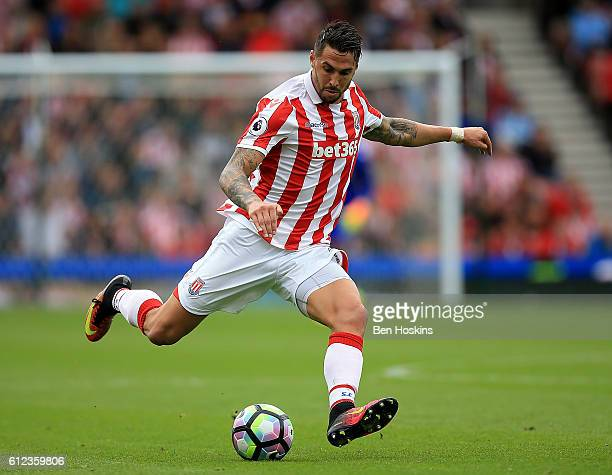 Geoff Cameron of Stoke in action during the Premier League match between Stoke City and West Bromwich Albion at The Britannia Stadium on September 24...