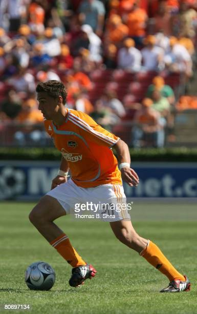 Geoff Cameron of the Houston Dynamo against FC Dallas during an MLS game at Robertson Stadium on April 6 2008 in Houston Texas The Dynamo tied FC...