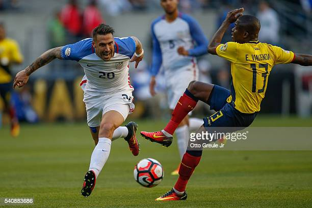 Geoff Cameron of the United States battles Enner Valencia of Ecuador during the 2016 Quarterfinal Copa America Centenario match at CenturyLink Field...