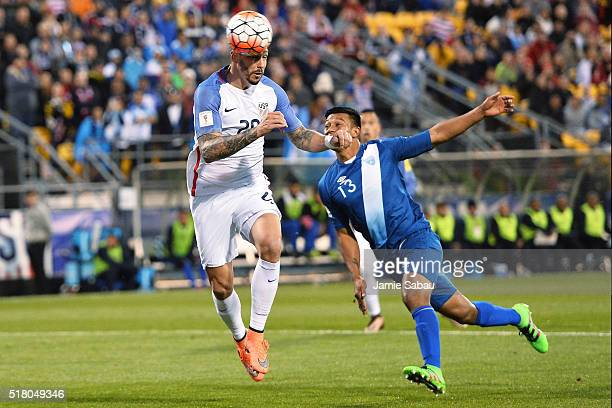 Geoff Cameron of the United States Men's National Team heads the ball off a free kick for a goal in front of Carlos Castrillo of Guatemala in the...
