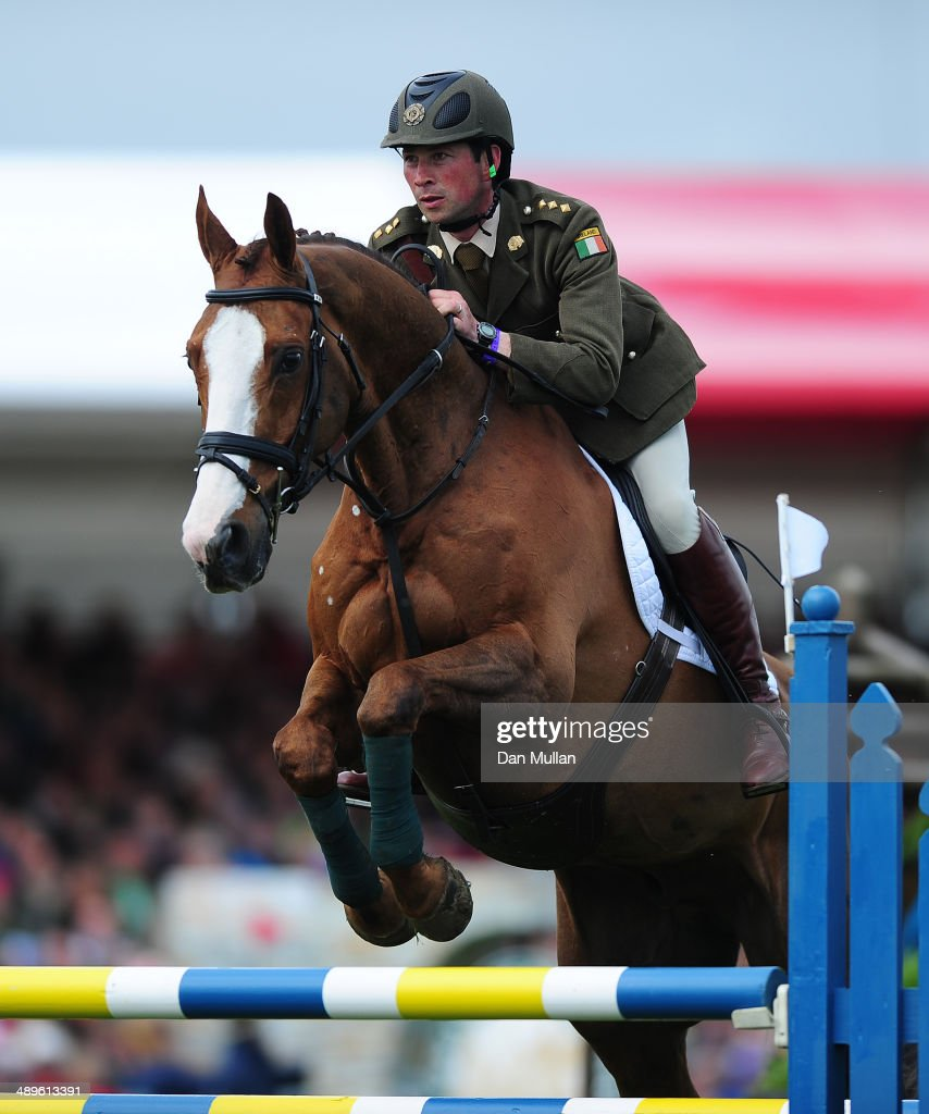 Geoff Curran of Ireland riding Shanaclough Crecora during the Show Jumping on day five of the Badminton Horse Trials on May 11, 2014 in Badminton, England.