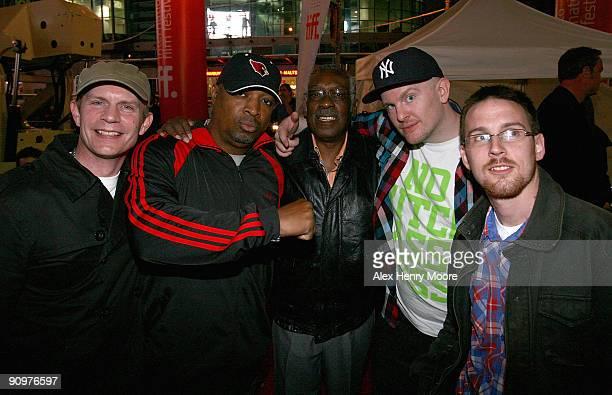 DJ Geoff Gamlen of Eclectic Method rapper Chuck D drummer Clyde Stubblefield and DJ's Ian Edgar and Jonny Wilson of Eclectic Method attend the Wrap...