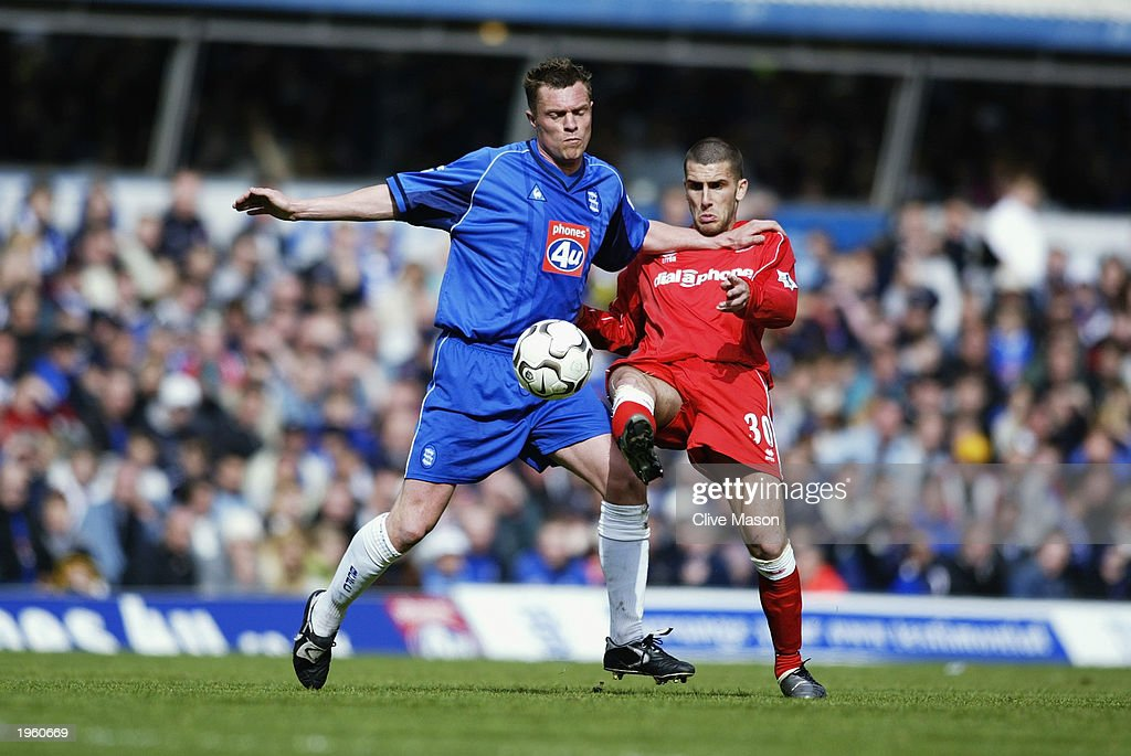 Geoff Horsfield of Birmingham City uses his strength to win the ball from Stuart Parnaby of Middlesbrough during the FA Barclaycard Premiership match held on April 26, 2003 at St Andrews, in Birmingham, England. Birmingham City won the match 3-0.