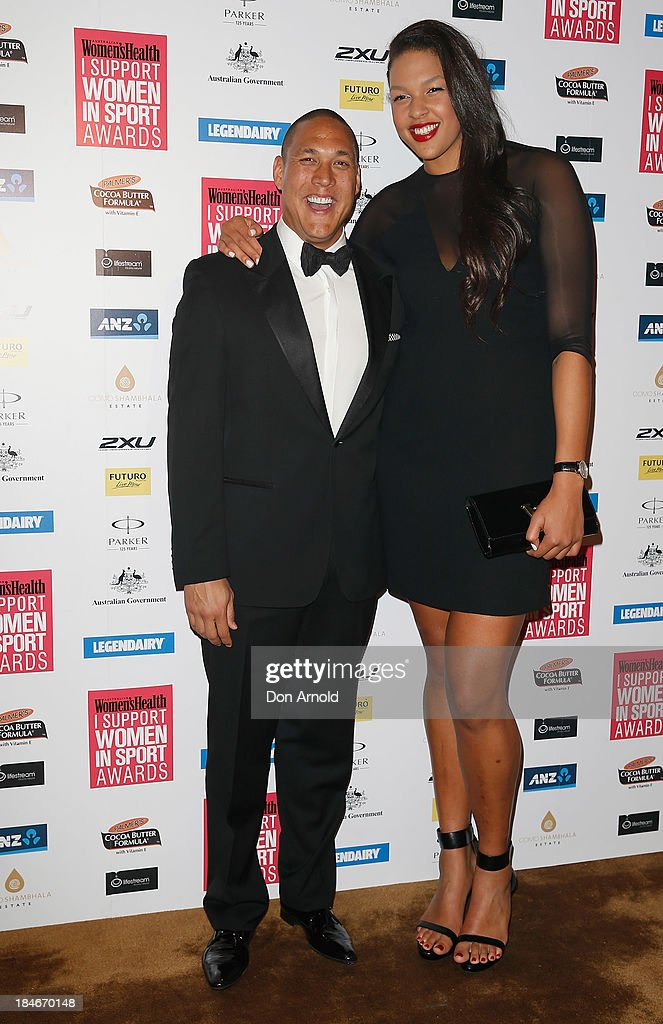 Geoff Huegill and Liz Cambage arrive at the 'I Support Women In Sport' awards at The Ivy Ballroom on October 15, 2013 in Sydney, Australia.
