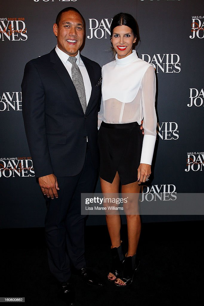 Geoff Huegill and Sara Huegill arrive at the David Jones A/W 2013 Season Launch at David Jones Castlereagh Street on February 6, 2013 in Sydney, Australia.