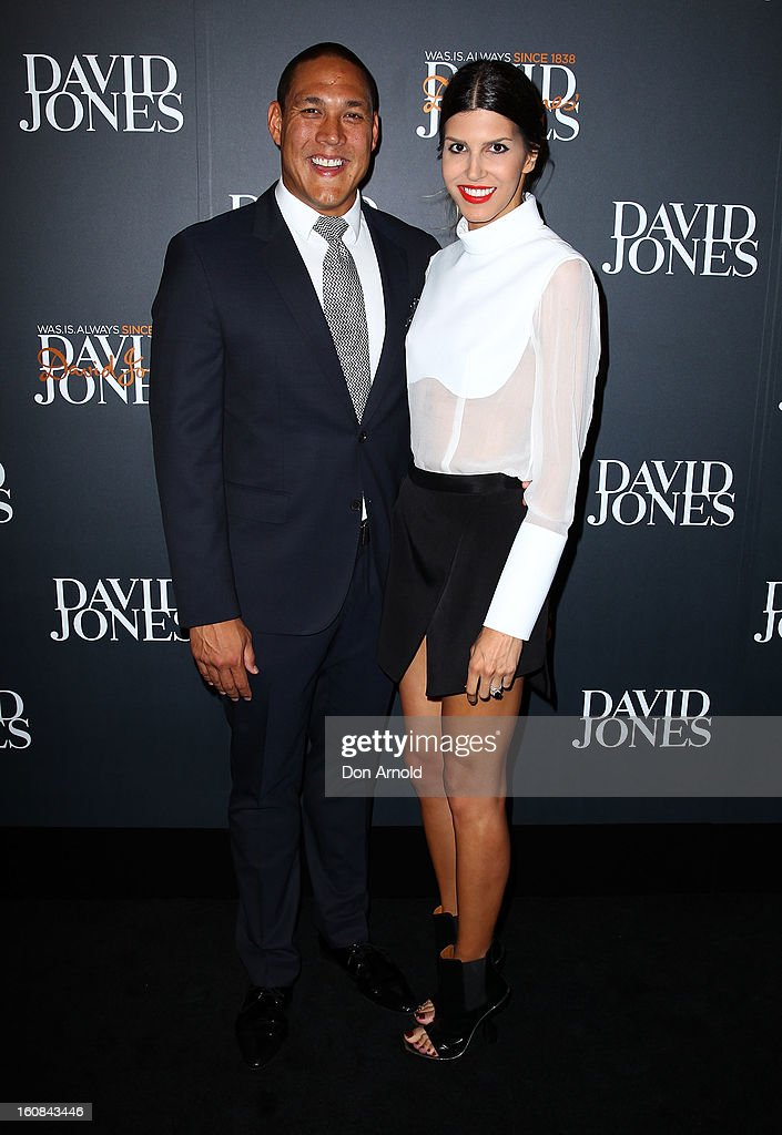 Geoff Huegill and Sara Huegill arrive for the David Jones A/W 2013 Season Launch at David Jones Castlereagh Street on February 6, 2013 in Sydney, Australia.