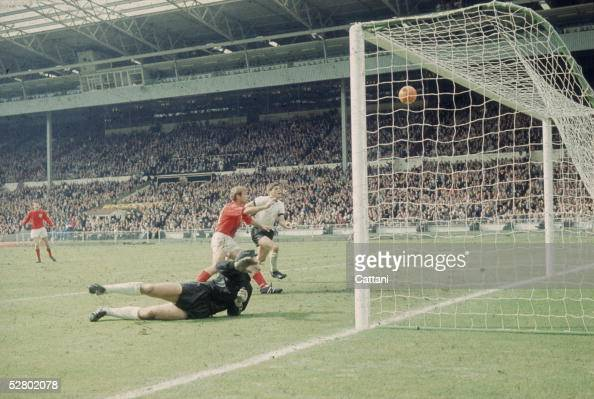 Geoff Hurst scores England's third goal against West Germany in the World Cup Final at Wembley Stadium 30th July 1966 England went on to win the...