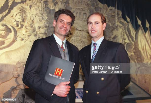 Geoff Metzger General Manager of The History Channel with Prince Edward at tonight's launch of 'Crown and Country' a series of 24 thirtyminute...