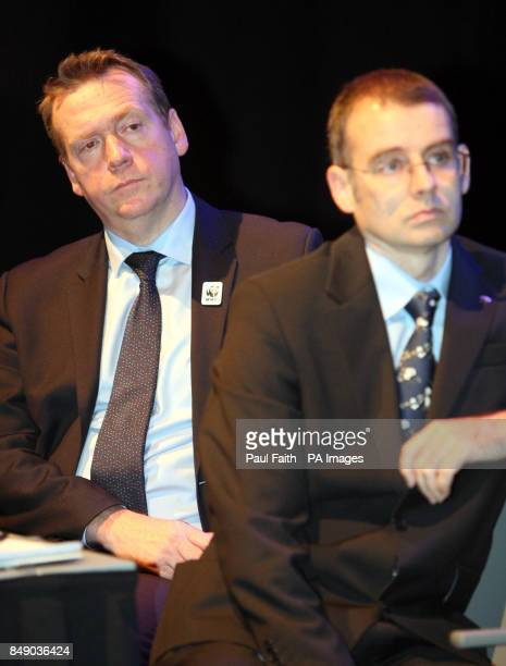 Geoff Nuttall head of WWF with Malachy Campbell policy officer with WWF at a conference in Belfast