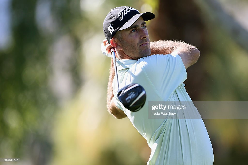 Geoff Ogilvy hits a tee shot on the second hole of the Arnold Palmer Private Course at PGA West during the second round of the Humana Challenge in...