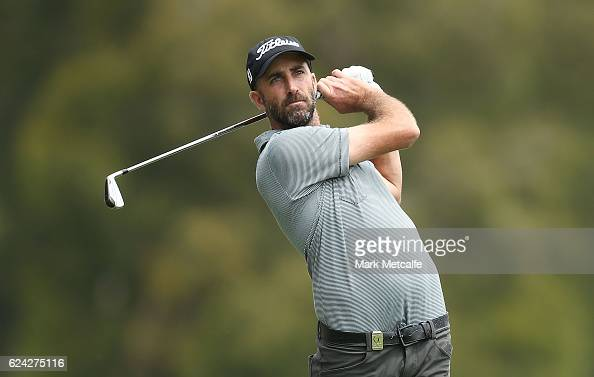 Geoff Ogilvy of Australia hits his second shot on the 16th hole during day three of the Australian golf Open at Royal Sydney GC at Royal Sydney Golf...