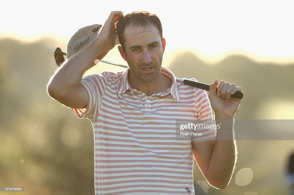 Geoff Ogilvy of Australia looks on during the Pro-Am ahead of the 2012 Australian Open, beginning tomorrow, at The Lakes Golf Club on December 5, 2012 in Sydney, Australia.