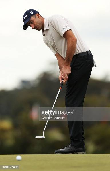 Geoff Ogilvy of Australia makes a putt during round three of the 2013 Australian Masters at Royal Melbourne Golf Course on November 16 2013 in...