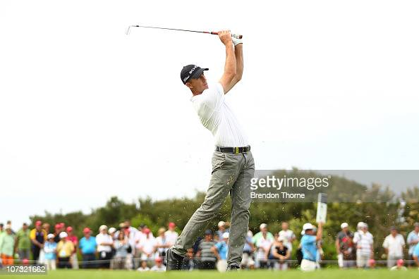 Geoff Ogilvy of Australia plays a shot on the 16th hole during day three of the Australian Open at The Lakes Golf Club on December 4 2010 in Sydney...