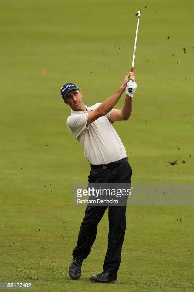Geoff Ogilvy of Australia plays an approach shot during round three of the 2013 Australian Masters at Royal Melbourne Golf Course on November 16 2013...