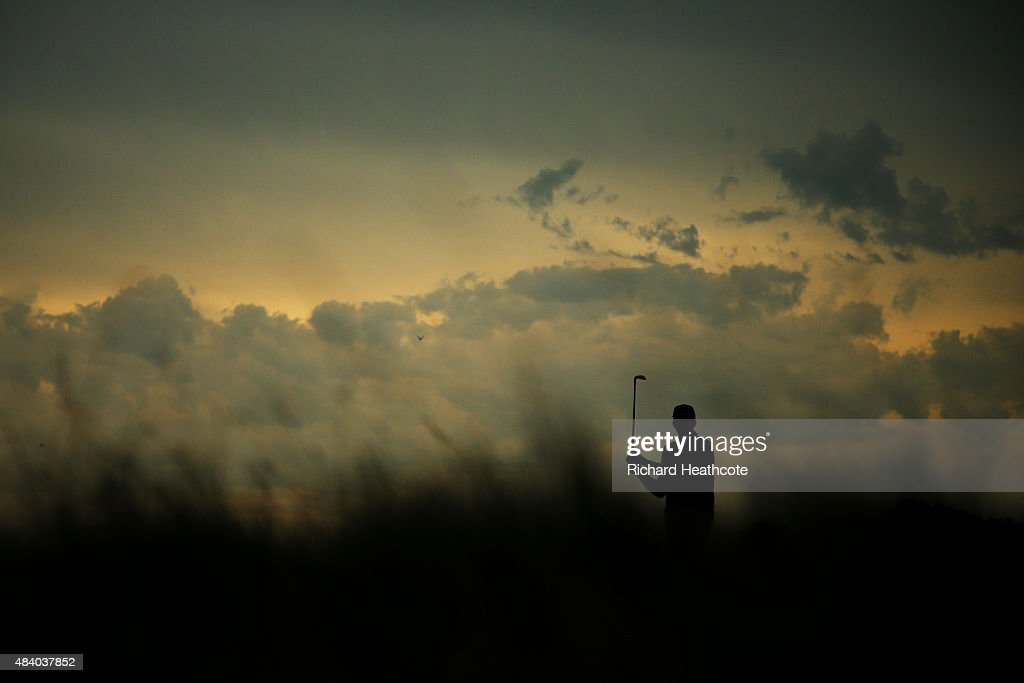 Geoff Ogilvy of Australia plays his shot from the 17th tee as foul wather approaches during the second round of the 2015 PGA Championship at Whistling Straits on August 14, 2015 in Sheboygan, Wisconsin.