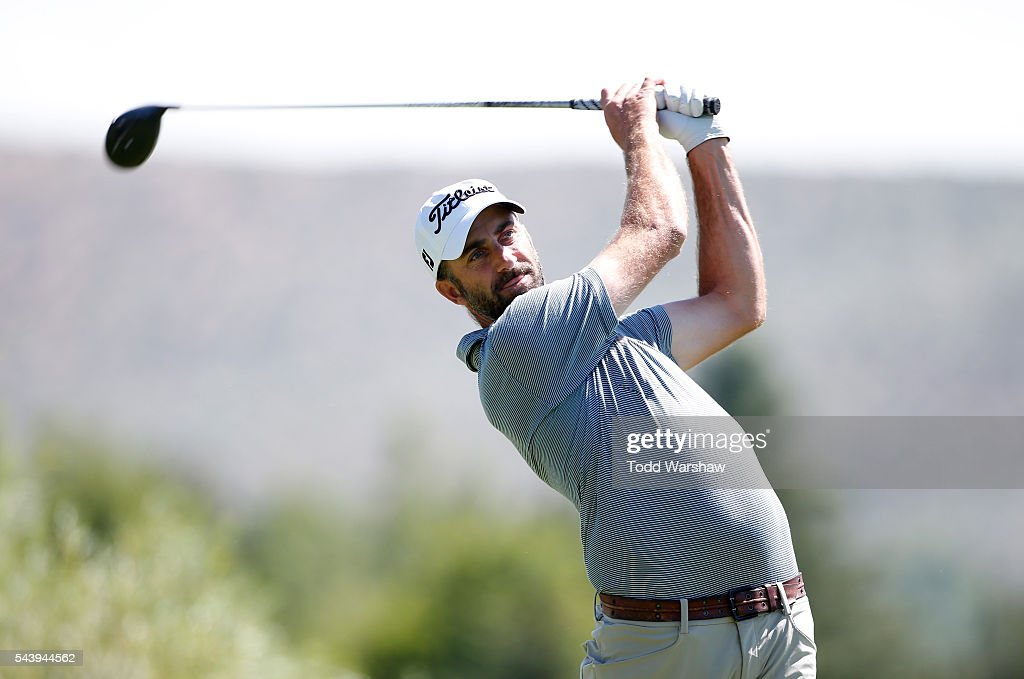 <a gi-track='captionPersonalityLinkClicked' href=/galleries/search?phrase=Geoff+Ogilvy&family=editorial&specificpeople=224652 ng-click='$event.stopPropagation()'>Geoff Ogilvy</a> of Australia plays his shot from the second tee during the first round of the Barracuda Championship at the Montreux Golf and Country Club on June 30, 2016 in Reno, Nevada.